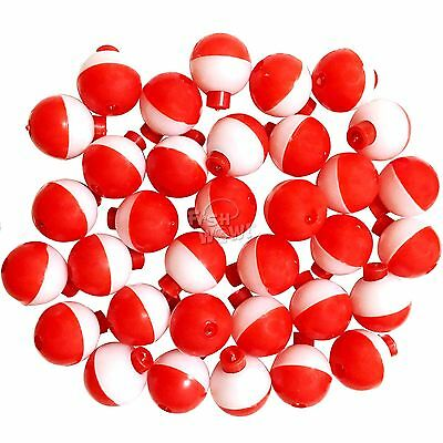 """50 100 200pcs Fish WOW! 1"""" Fishing Snap-On Round Floats bobbers Red White lot"""