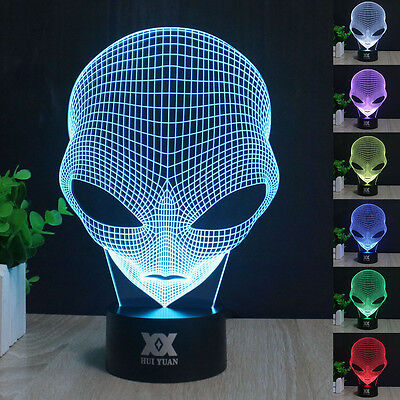 Pop-eyed Alien 3D LED illusion Night Light 7 Color Touch Switch Table Desk Lamp