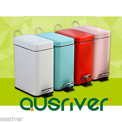 Stainless Steel Rectangle Cuboid Mini Pedal Rubbish Bin Trash Can With Lid  5L