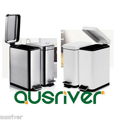 Stainless Steel Soft Close Mute Thick Pedal Rubbish Bin Wastebasket With Lid 10L