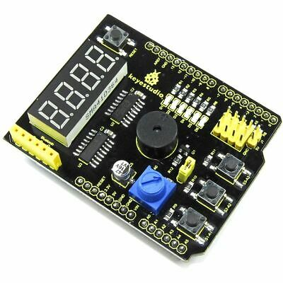Keyestudio UNO Multi-Purpose Shield KS-184 V2 7-Seg Buzzer LED Flux Workshop