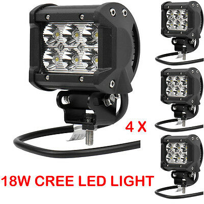 """4x 4"""" Inch 18W Spot Led Work Light Pods Cube Offroad For ATV JEEP UTE Truck 4WD"""