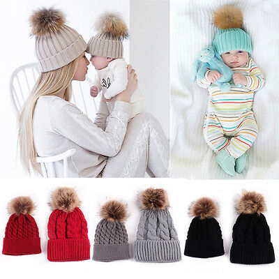genenci Hat, Mom & Baby Winter Warm Faux Fur Pom Bobble Knit Beanie Hat Cap