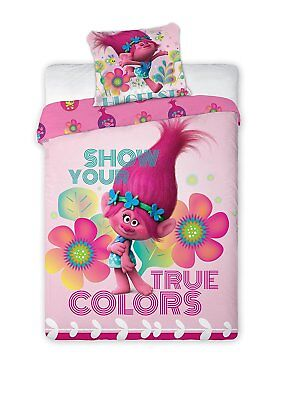 Trolls Glow Single Duvet Cover Set Rotary Design Pink and Purple