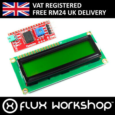 16x2 Green LCD with Funduino I2C Interface MB-063 1602 HD44780 Flux Workshop