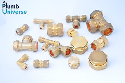 Brass Compression fittings 6mm,8,10,12,15mm,22mm Straight, Elbow, Tee, Stop End