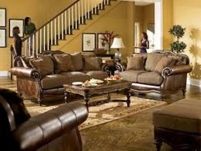 Ashley Claremore Living Room Set 3pcs in Antique Faux Leather Traditional Style