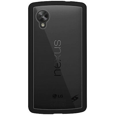 For LG GOOGLE Nexus 5 SlimGrip Hybrid TPU Shell Case Clear Back Cover - Black