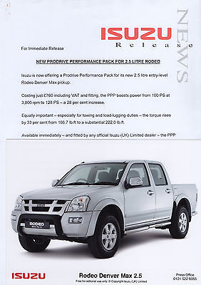Isuzu Rodeo Denver Max 2.5 Press Release/Photograph 2006 - Prodrive Pack