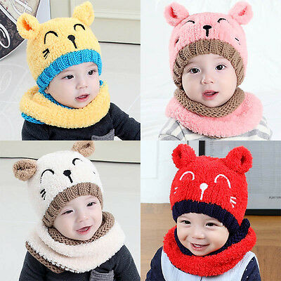 2PCS Baby Toddler Kids Boy Girl Knitted Winter Beanie Hat Cap+Scarf Scarves 1-3T