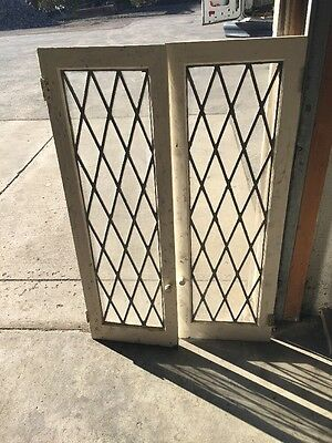 """Dcm7 One Pair Leaded Glass Cabinet Doors 31 3/4"""" By 48 Inch"""