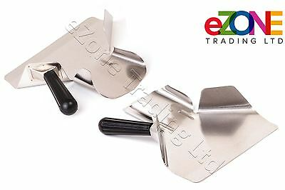2 Chip French Fry Baggers Right and Left Handle Stainless Steel Scoops