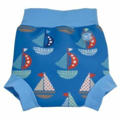 Splash About Happy Nappy 6-12-14 Months Large Baby Boys Blue Boat Swimming Pants