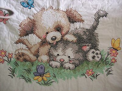 "Completed Dimensions stamped cross stitch baby quilt ""Pet Friends"""