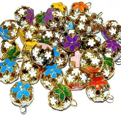 CL141f Assorted 17mm Round Bell Drop Enamel & Gold-Plated Cloisonne Beads 10/pkg