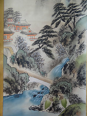 "Japanese hanging scroll Handpainted on Silk  "" Sansui zu"" with box"