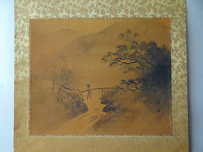 "OLD ANTIQUE Japanese hanging scroll Handpainted  "" Landscape"" with box"