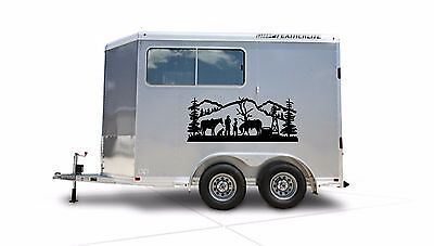 Cowboy & Horses Border Horse Trailer Truck RV Camper Decal Stickers 22x55
