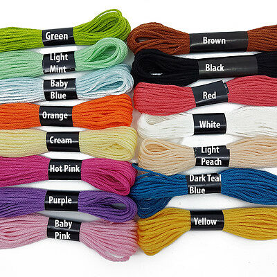 30 Mixed Colours Cross Stitch Cotton Embroidery Thread Sewing Skeins Floss 99p