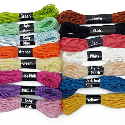 Mixed Colours Cross Stitch Cotton Embroidery Thread Sewing Skeins Floss 99p UK