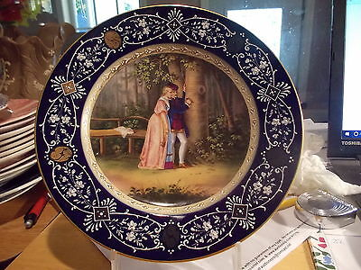 19th Century Antique ROYAL VIENNA Cabinet Plate - Couple Carving Heart on Tree