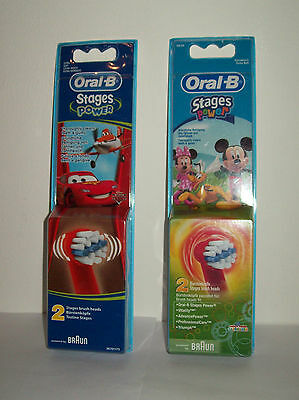Oral-B Braun Kids Stages Power Disney Cars Mickey Toothbrush Heads - 2 Pack
