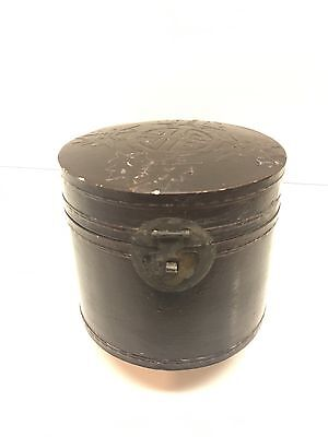 Rare Antique Asian Chinese Japanese MANDARIN Lacquer Leather Hat Box, Original