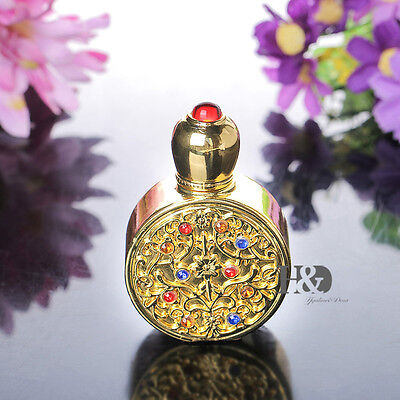 Vintage Gold Refillable Glass Metal Perfume Bottle Empty Travel Wedding Gift 3ml