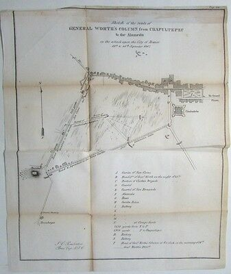 Mexico Mexican-American War 1847 Gen. Worth Chapultepec Alameda old battle map