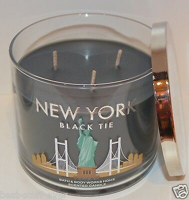 New Bath & Body Works New York Black Tie Scented Candle 3 Wick 14.5 Oz Large