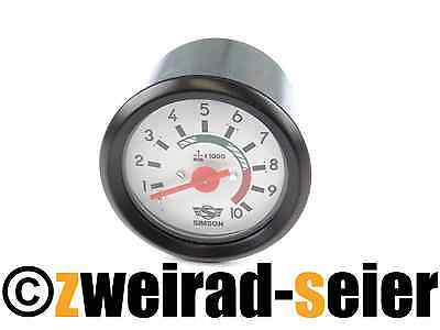 Tachometer Ø 2 3/8in with Ground Connector Red/White 12V Simson S50 S51