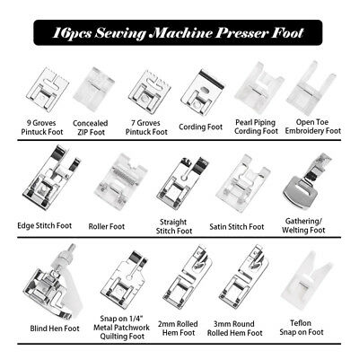 16pcs/set Sewing Machine Presser Foot Feet for Brother Singer Toyota Janome Juki