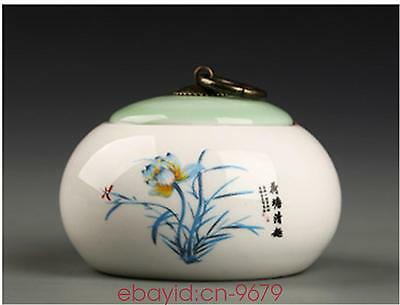 China tea caddies Ink painting flowers tea pot storage canister Ceramic jar box