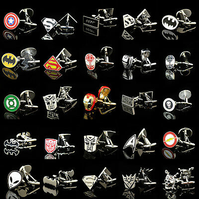 Boutons de manchette en acier inoxydable Cartoon Vintage Round Cufflinks Party