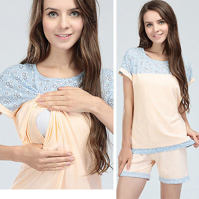 New Summer Breastfeeding Maternity Pajamas Suit Nursing Clothes Women Sleepwear