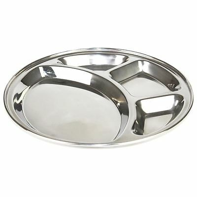 Stainless Steel Round 4 Compartment Tray Indian Food Snack Dining Plate