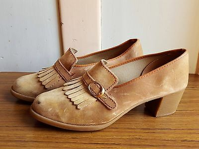VINTAGE GROSBY shoes heels retro 8 1960s 1970s platforms