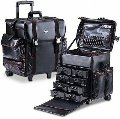 MUA LIMITED Professional Beauty Trolley Makeup Artist Case Black Leather