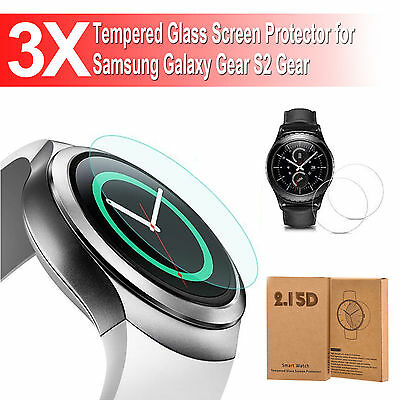 3 X Tempered Glass Screen Protector for Samsung Galaxy Gear S2 Gear Smart Watch