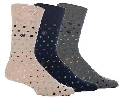 3 Pairs Mens Sock Shop Gentle Grip Black Grey Beige Everyday Cotton Socks, 6-11