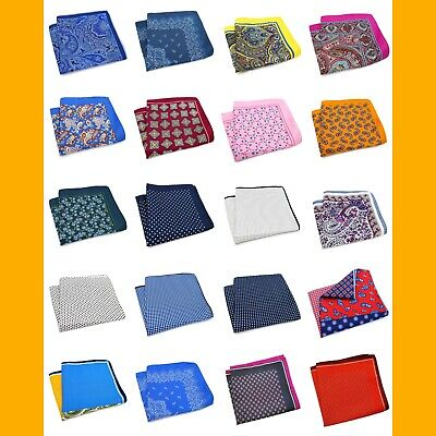 Designer Large 33Cm Paisley Silk Blend Pattern Pocket Square Hanky Wedding Event