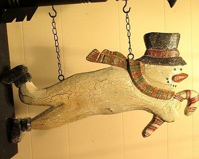 """""""FLYING SNOWMAN"""" Replacement Sign - Resin Sign for Country Arrow Holders"""