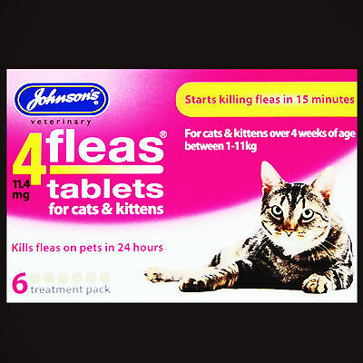 Johnsons Cat/kitten 4Fleas 6 Tablets Pack Start To Kill Pet Fleas In 15 Minutes