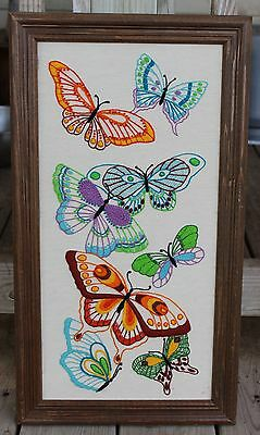Vintage Butterfly Needlework Embroidered Yarn Art Handmade Framed Picture