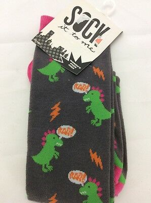 Sock It To Me Dinomite Dinosaurs Grey Women's Knee High Socks