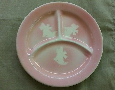 Vintage Baby Girl Pink Divided Plate Scottie Dogs good condition