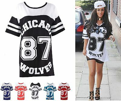84bc8c81a8399 Ladies Womens Chicago 87 Wolves Wolves Baseball Long Baggy tShirt Varsity  Top