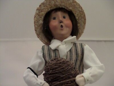 Byers Choice Colonial Williamsburg Boy with Beehive or Bird Nest w/Tag