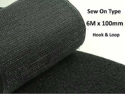 6 M x High Quality BLACK 100mm Width SEW On HOOK and LOOP Fastener TAPE STRAP