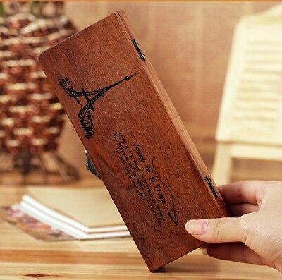 Retro Eiffel Tower Wood Wooden Pen Pencil Box Stationery Storage Kids Gift